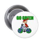 Regalo verde de la bicicleta pins