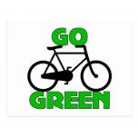 Regalo verde de la bicicleta postales