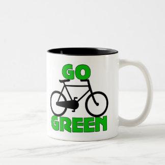 Regalo verde de la bicicleta taza dos tonos