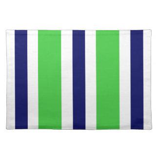 Regalo verde de Placemat de la raya de los azules Mantel