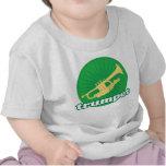 Regalo verde retro de la música de la trompeta camisetas