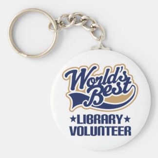 Regalo voluntario de la biblioteca llavero redondo tipo pin