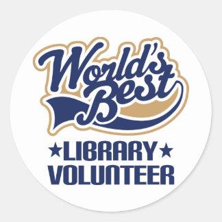 Regalo voluntario de la biblioteca pegatina redonda