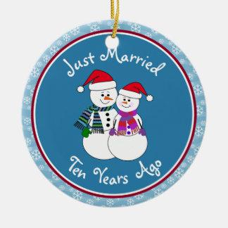 Regalos 10th-Christmas del aniversario de los Adorno De Navidad