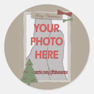 Regalos adaptables de la foto del navidad pegatinas redondas