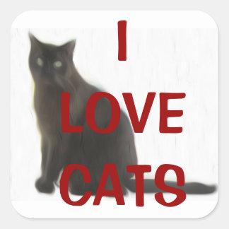 Regalos adaptables y saludos del amante del gato pegatina cuadrada