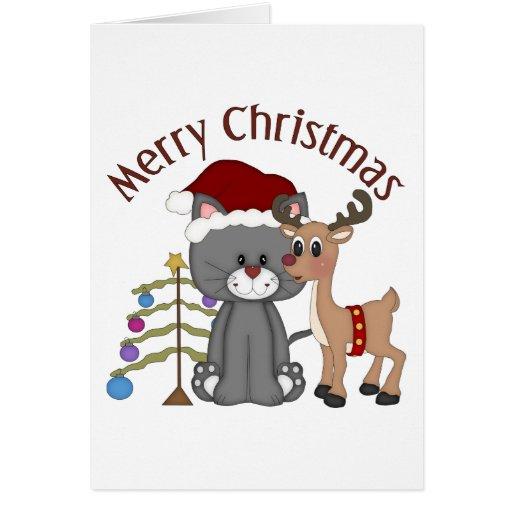 Regalos adorables de los gatitos del navidad, tarj felicitación