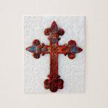 Regalos aherrumbrados del cristiano de la cruz del rompecabezas con fotos
