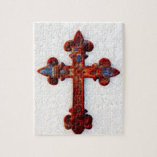 Regalos aherrumbrados del cristiano de la cruz del rompecabeza con fotos