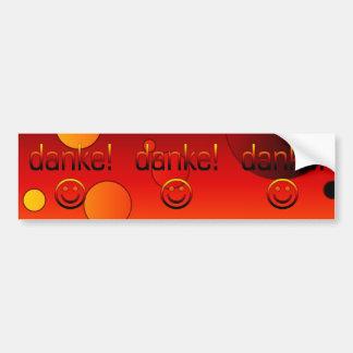 Regalos alemanes: Gracias/Danke + Cara sonriente Pegatina Para Auto