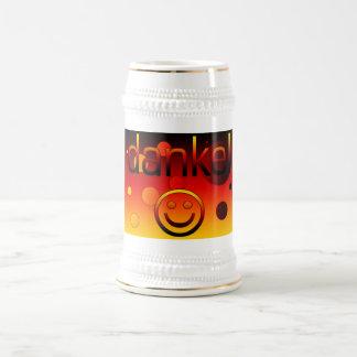 Regalos alemanes: Gracias/Danke + Cara sonriente Jarra De Cerveza