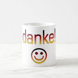 Regalos alemanes: Gracias/Danke + Cara sonriente Taza De Café