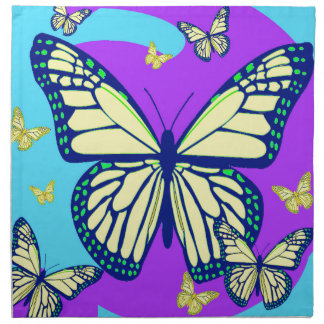 Regalos amarillos celestiales del monarca por la servilletas de papel