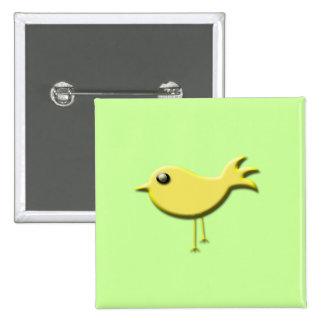 Regalos amarillos del pájaro pin cuadrado