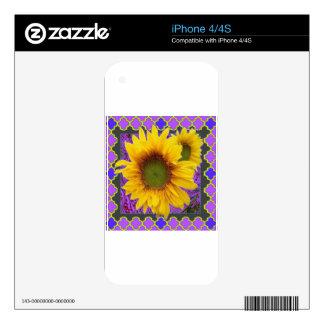 Regalos amarillos modelados púrpura del girasol iPhone 4 skin