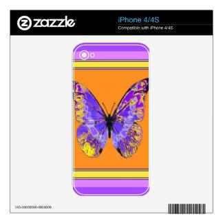 Regalos anaranjados de la mariposa púrpura por iPhone 4 skins