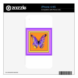 Regalos anaranjados de la mariposa púrpura por skins para eliPhone 4
