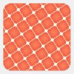 Regalos anaranjados del modelo de rejilla de la pegatina cuadrada