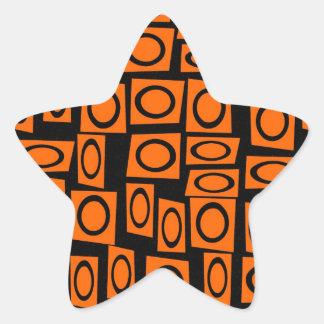 Regalos anaranjados negros del modelo del cuadrado pegatina en forma de estrella