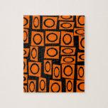 Regalos anaranjados negros del modelo del cuadrado rompecabeza con fotos