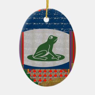 REGALOS animales LINDOS del verde del mascota del Adorno Ovalado De Cerámica