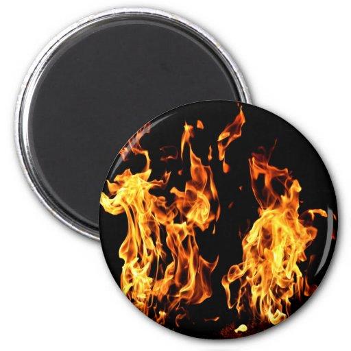 Regalos ardientes del fuego llameante imán redondo 5 cm