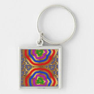 Regalos artísticos abstractos coloridos del modelo llavero cuadrado plateado