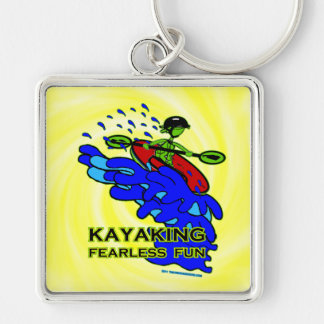 Regalos audazes Kayaking de la diversión Llavero Cuadrado Plateado