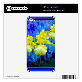 Regalos azules azules del jardín del iris amarillo calcomanías para el iPhone 4