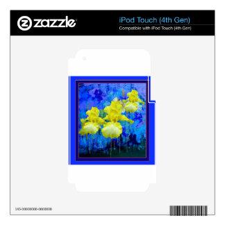 Regalos azules azules del jardín del iris amarillo iPod touch 4G skin