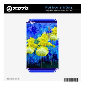 Regalos azules azules del jardín del iris amarillo iPod touch 4G skins