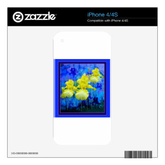 Regalos azules azules del jardín del iris amarillo skins para eliPhone 4