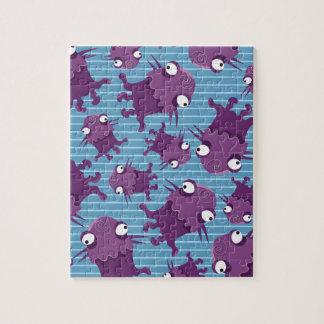 Regalos azules de las criaturas púrpuras de los mo puzzle