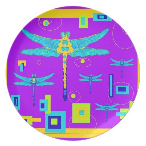 Regalos azules del art déco de la libélula por Sha Plato Para Fiesta
