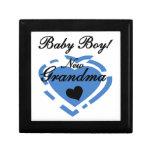 Regalos azules del corazón del nuevo bebé de la ab caja de recuerdo