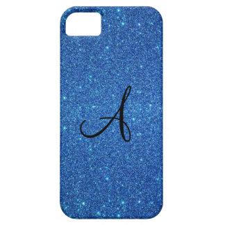 Regalos azules del monograma del brillo iPhone 5 Case-Mate protectores