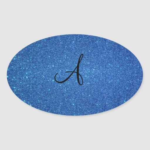 Regalos azules del monograma del brillo calcomanía óval