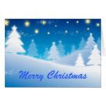 Regalos azules del navidad de la escena del invier felicitación
