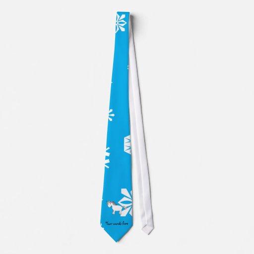 Regalos azules del navidad del unicornio de los co corbata personalizada