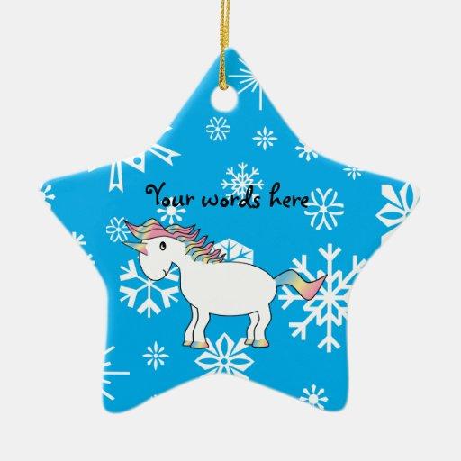 Regalos azules del navidad del unicornio de los adorno de cerámica en forma de estrella