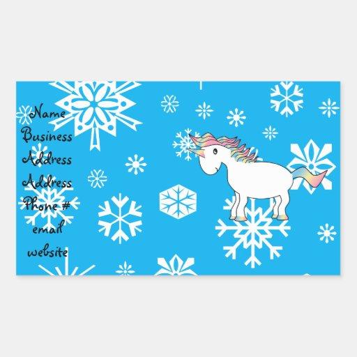 Regalos azules del navidad del unicornio de los pegatina rectangular