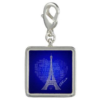 Regalos azules del vintage de París el | del amor Dije Con Foto