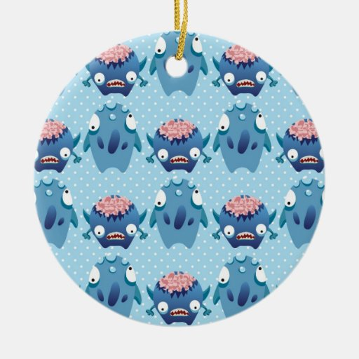 Regalos azules locos de las criaturas de la adorno navideño redondo de cerámica