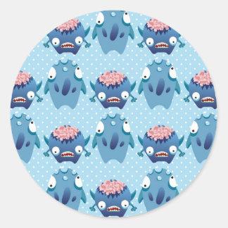 Regalos azules locos de las criaturas de la divers etiquetas redondas