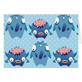 Regalos azules locos de las criaturas de la tarjeta pequeña