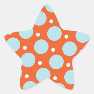 Regalos azules y anaranjados del modelo de lunares pegatina en forma de estrella