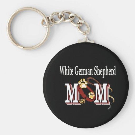 Regalos blancos de la mamá del pastor alemán llavero redondo tipo pin