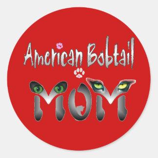 Regalos Bobtail americanos de la mamá Pegatina Redonda