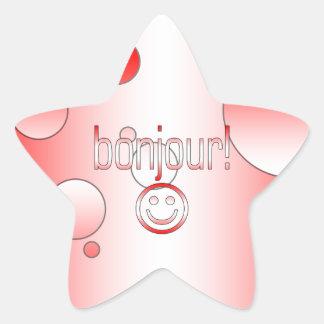 Regalos canadienses franceses hola Bonjour + Cara Calcomanías Forma De Estrellas