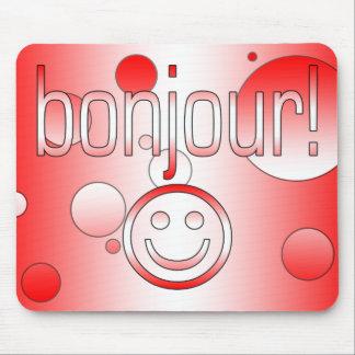 Regalos canadienses franceses hola Bonjour + Cara  Tapetes De Ratones